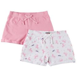 Vigoss Big Girls 2-pk. Unicorn Star & Solid Roll Cuff Shorts
