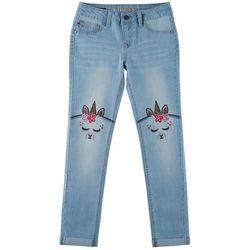 Vigoss Big Girls Embroidered Llama-corn Knee Skinny Jeans