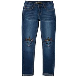 Vigoss Big Girls Embroidered Cat-icorn Knee Skinny Jeans