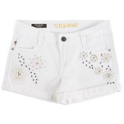 Vigoss Big Girls Crystal Snowflake Denim Shorts