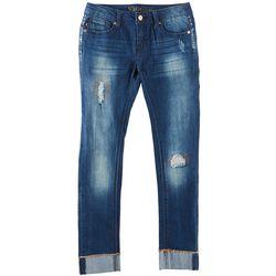 Vigoss Big Girls Distressed Cuffed Skinny Jeans