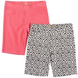 Vigoss Big Girls 2-pk. Ikat & Solid Bermuda Shorts
