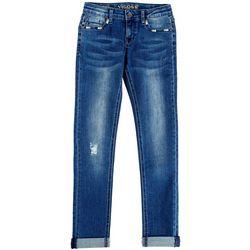 Vigoss Big Girls Embroidered Pocket Roll Cuff Jeans