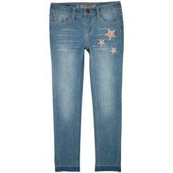 Vigoss Big Girls Shimmer Star Skinny Jeans