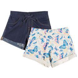 Vigoss Big Girls 2-pk. Butterfly Print & Denim Cuffed Shorts