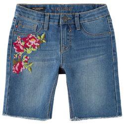 Vigoss Big Girls Floral Embroidered Denim Bermuda Shorts