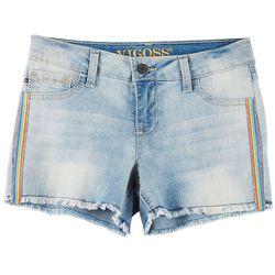 Vigoss Big Girls Rhinestone Rainbow Side Frayed Denim Shorts