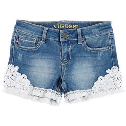 Vigoss Big Girls Crochet Frayed Hem Denim Shorts