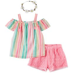 Forever Me Little Girls 3-pc. Striped Top and Lace Short Set
