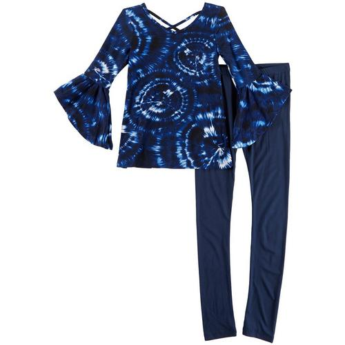 1st Kiss delivers fun and fashionable apparel! Three quarter sleeve top features bold tie dye print, bell sleeves, a round neckline, and stylish crisscross back. Set includes a coordinating pair of solid pull-on leggings with an elastic waist.