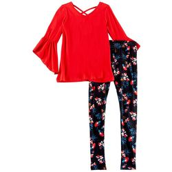 1st Kiss Big Girls Floral Bell Sleeve Leggings Set