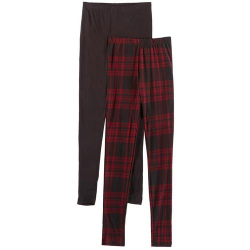 1st Kiss offers styles for the fun, free-spirited trendsetter. This two pack of leggings feature a pair of classic plaid print leggings and a solid pair of leggings with elastic waists and a close, flattering fit.