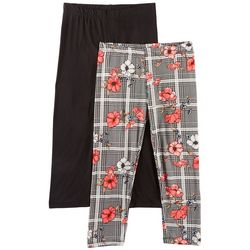 1st Kiss Big Girls 2-pk. Floral Plaid & Solid Leggings