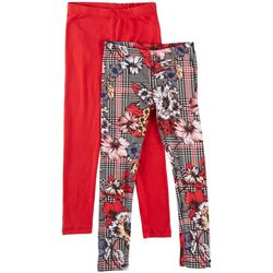 023c24baf3ff6 1st Kiss Big Girls 2-pk. Plaid Floral & Solid Leggings