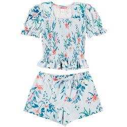 1st Kiss Big Girls Smocked Floral Stripe Shorts Set