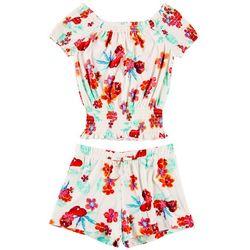 1st Kiss Big Girls Tropical Floral Off Shoulder Shorts Set