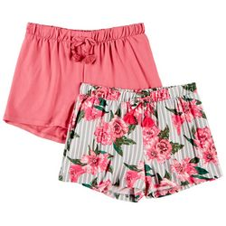1st Kiss Big Girls 2-pk. Floral Print & Solid Shorts