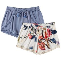 1st Kiss Big Girls 2-pk. Floral Print & Solid Pom Pom Shorts