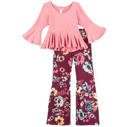 1st Kiss Big Girls Floral Peplum Pants Set