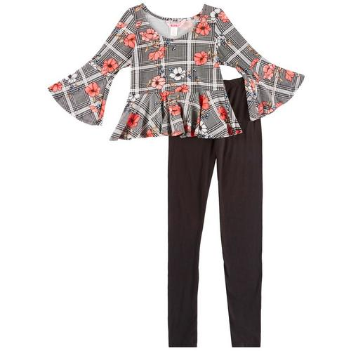 1st Kiss delivers fun and fashionable apparel! Three quarter sleeve peplum top features vibrant floral & plaid print, bell sleeves, and a round neckline. Set includes a coordinating pair of solid pull-on leggings with an elastic waist.
