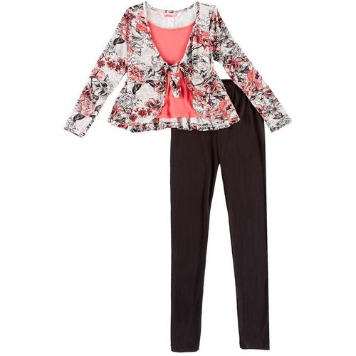 1st Kiss delivers fun and fashionable apparel! Long sleeve shrug top features a heathered design, floral print, a stylish tie front, roomy round neckline, and an attached undershirt. Set includes a coordinating pair of solid pull-on leggings with an elastic waist.