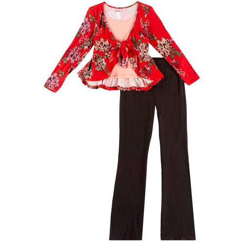 1st Kiss delivers fun and fashionable apparel! Long sleeve shrug top features floral print, a stylish tie front, roomy round neckline, and an attached undershirt. Set includes a coordinating pair of solid pull-on pants with an elastic waist.