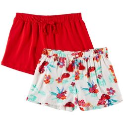 1st Kiss Big Girls 2-pk. Bright Floral Print & Solid Shorts