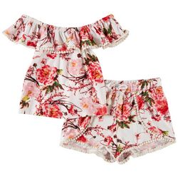 1st Kiss Big Girls Floral Pom Pom Shorts