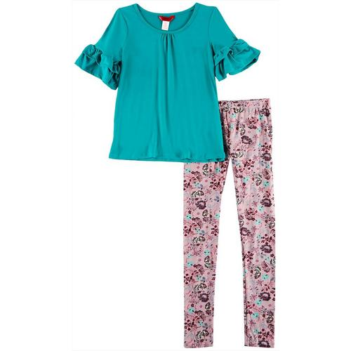 1st Kiss delivers fun and fashionable apparel! Three quarter sleeve top features a solid design, tiered ruffle sleeves, and a round neckline with light ruching. Set includes a coordinating pair of colorful floral print pull-on leggings with an elastic waist.