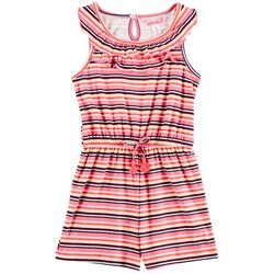 1st Kiss Big Girls Striped Popover Romper