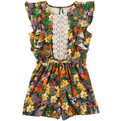 1st Kiss Big Girls Floral Print Ruffled Romper
