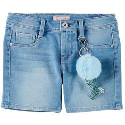 Squeeze Big Girls Mermaid Poof Bermuda Denim Shorts