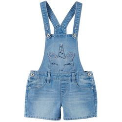 Squeeze Big Girls Unicorn Embroidered Denim Shortalls