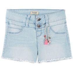Squeeze Big Girls Fray Hem Denim Shorts & Charm Bracelet Set