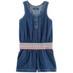 Squeeze Big Girls Rainbow Waist Chambray Romper