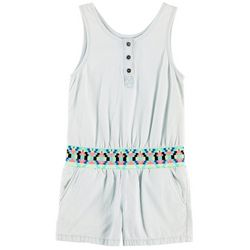 Squeeze Big Girls Tribal Waist Chambray Romper