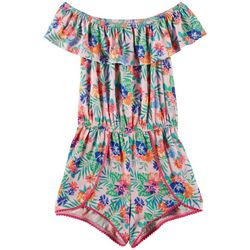 Love @ First Sight Big Girls Tropical Print Knit Romper