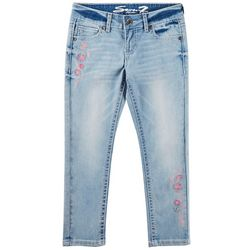 Seven 7 Big Girls Floral Embroidered Ankle Skinny Jeans