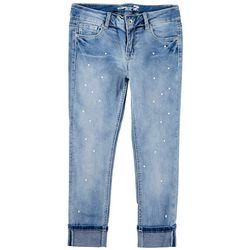 Seven 7 Big Girls Faux Pearl Cuffed Skinny Jeans