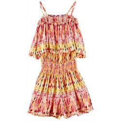 Derek Heart Girl Big Girls Ikat Print Peasant Romper