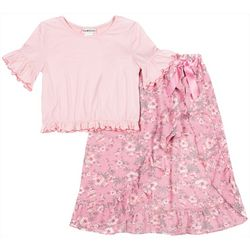 Satin Flowers Big Girls 2-pc. Floral Walkthrough Skirt Set