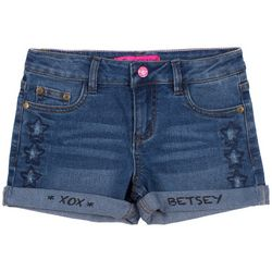 Betsey Johnson Big Girls Star Embroidered Denim Shorts