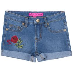 Betsey Johnson Big Girls Floral Heart Pocket Denim Shorts