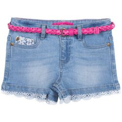 Betsey Johnson Big Girls Crochet Trim Belted Denim Shorts
