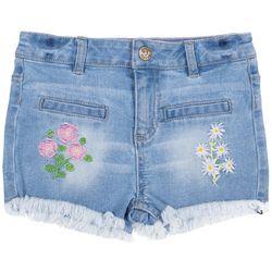 Betsey Johnson Big Girls Flower Embroidered Denim Shorts