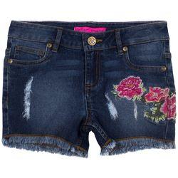 Betsey Johnson Big Girls Floral Embroidered Denim Shorts