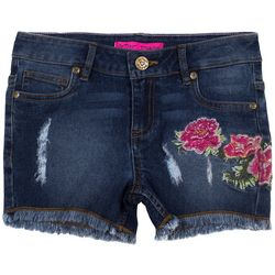 Betsey Johnson Big Girls Floral Embroidered Denim Shorts