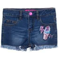 Betsey Johnson Big Girls Sequined Frayed Hem Denim Shorts