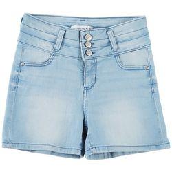 Celebrity Pink Big Girls Solid Triple Button Denim Shorts