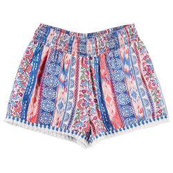 Joe Benbasset Big Girls Floral Stripe Tassel Pull-On Shorts
